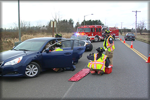 scene safety Action Training, firefighters at vehicle accident