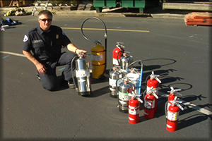 CRR program firefighter teaching about fire extinguisher use